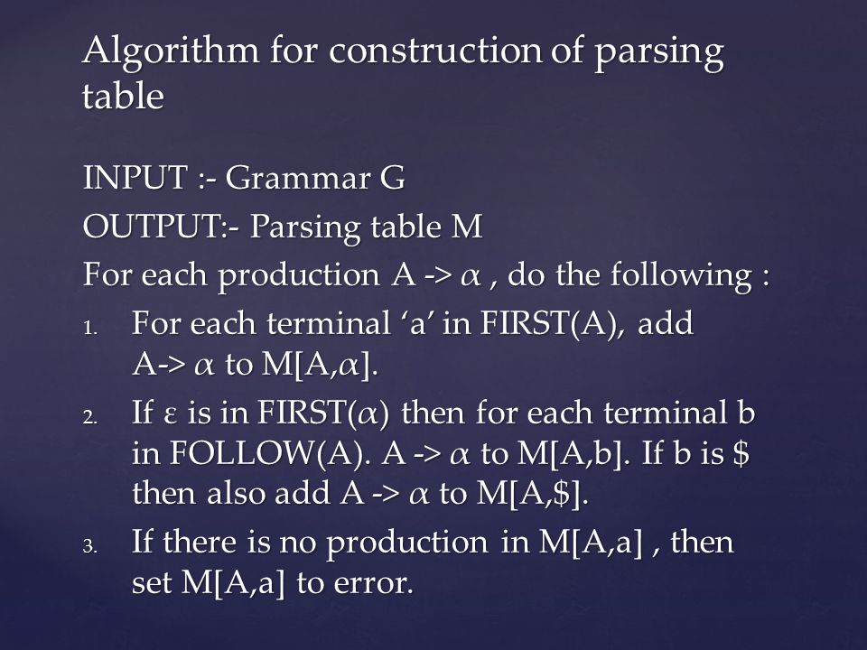Algorithm for construction of parsing table
