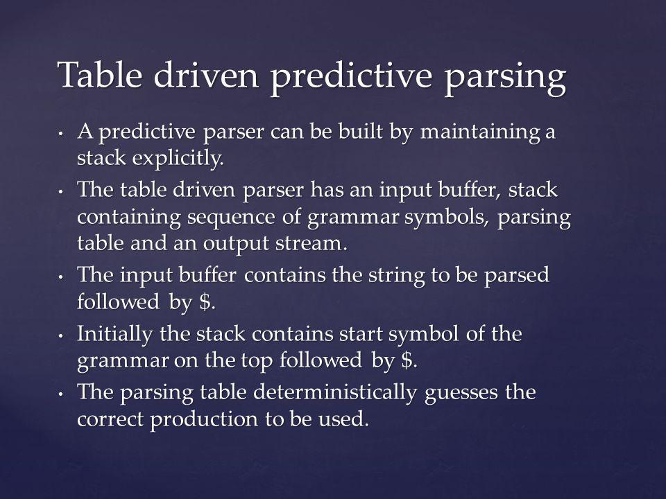 Table driven predictive parsing