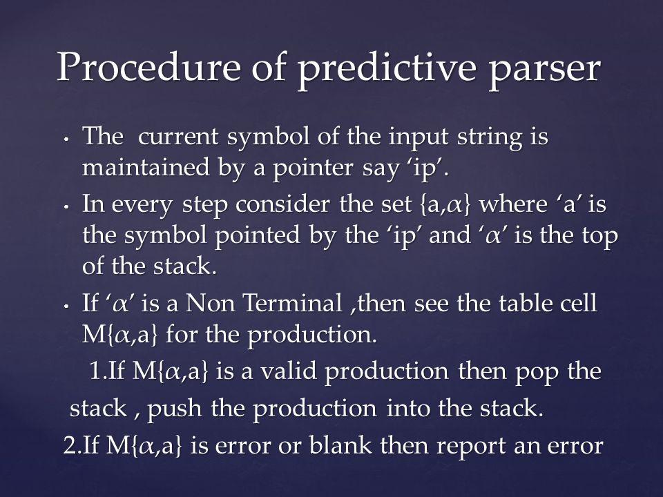 Procedure of predictive parser