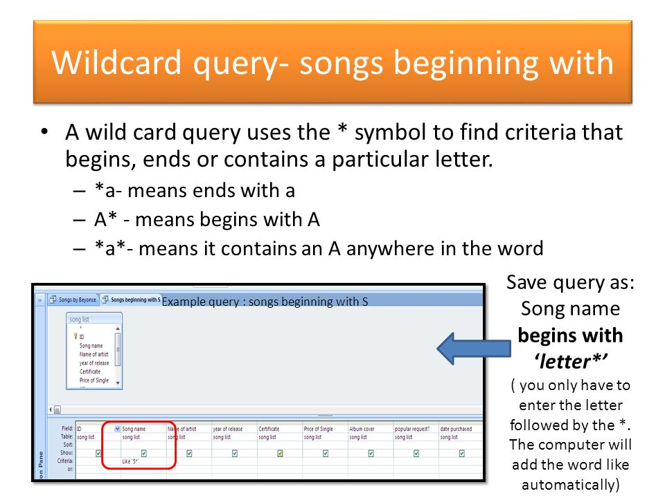 Wildcard query- songs beginning with