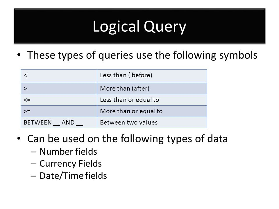 Logical Query These types of queries use the following symbols