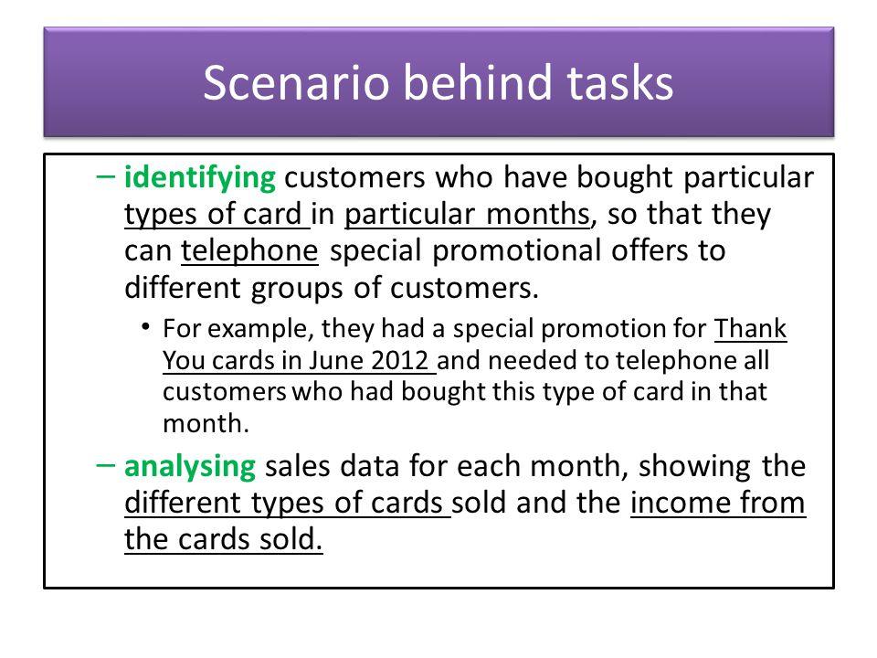 Scenario behind tasks
