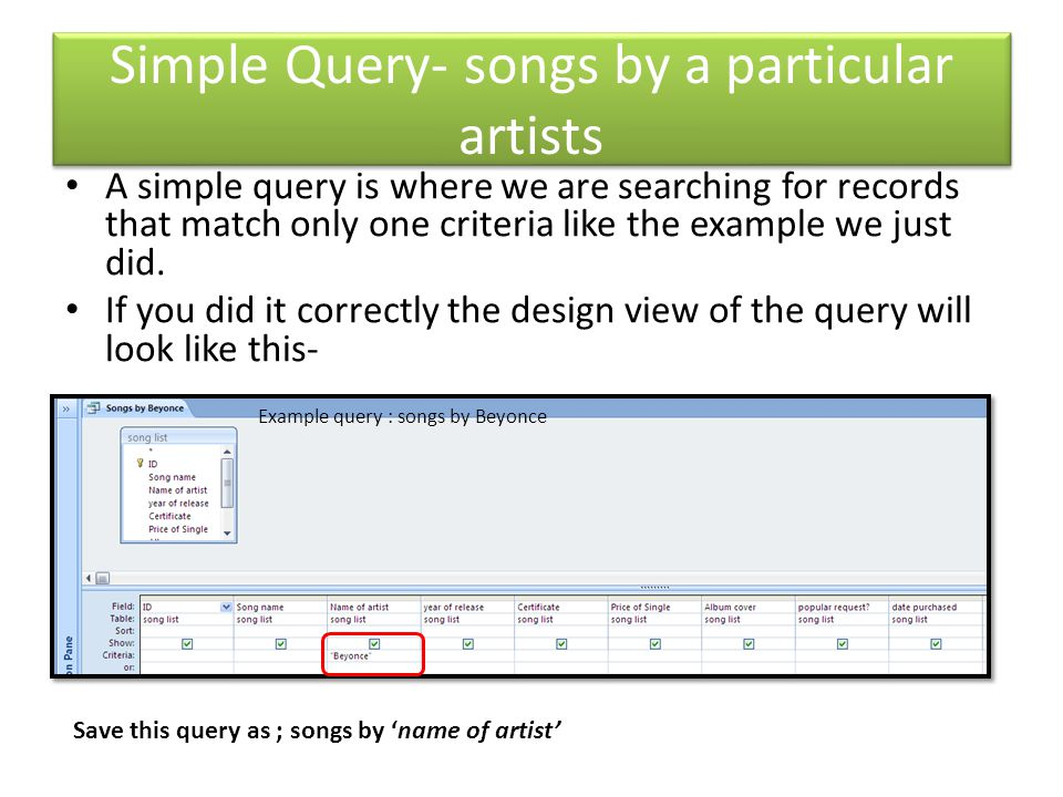 Simple Query- songs by a particular artists