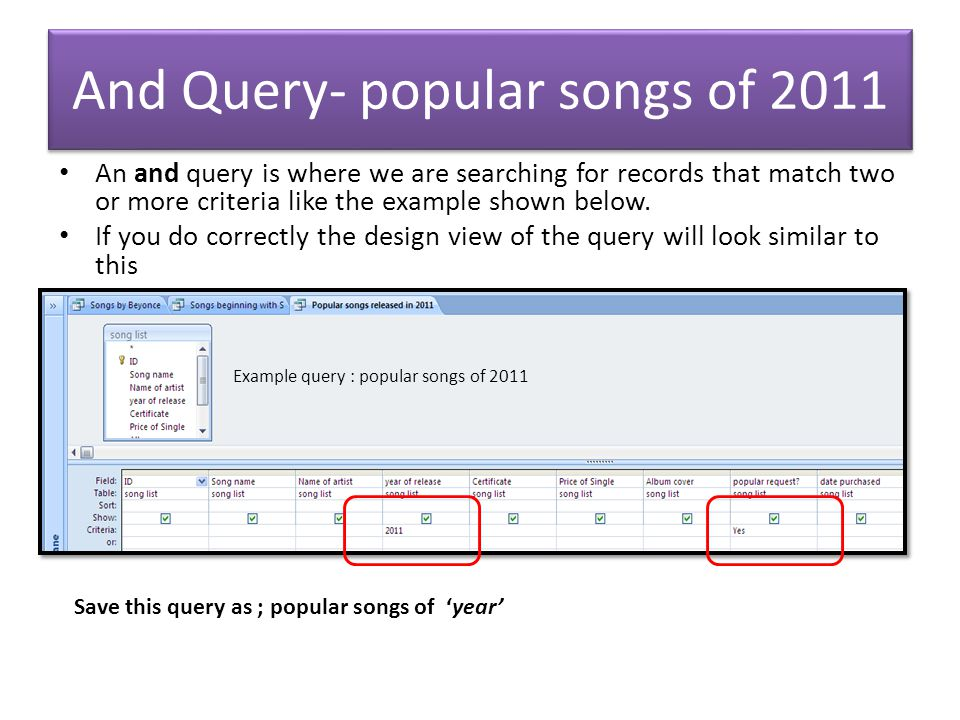 And Query- popular songs of 2011