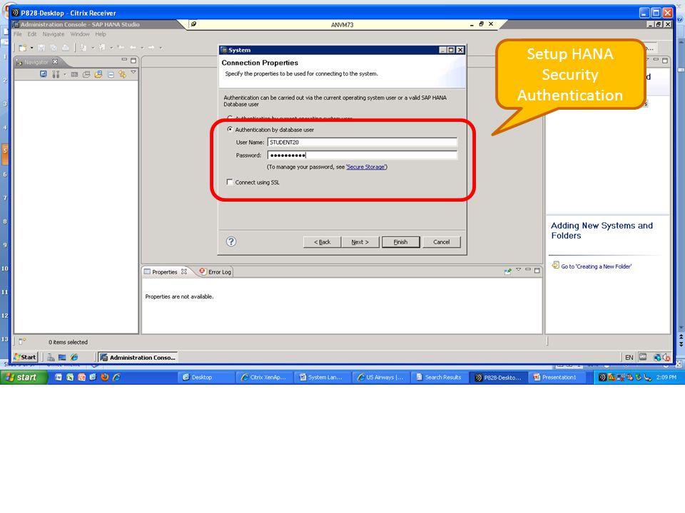 Setup HANA Security Authentication