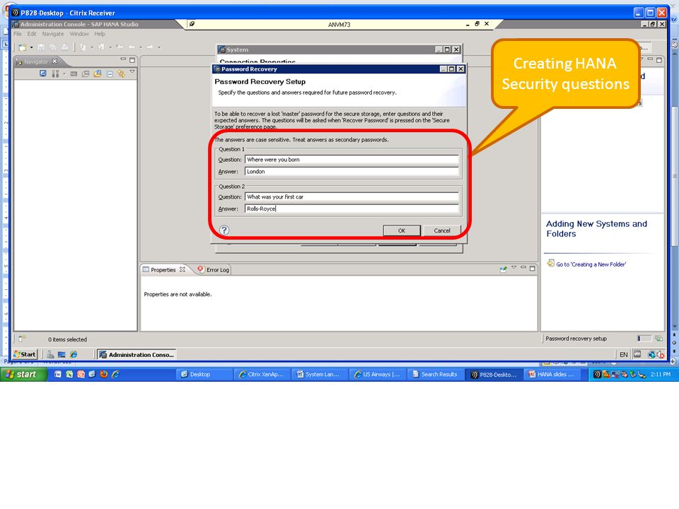 Creating HANA Security questions