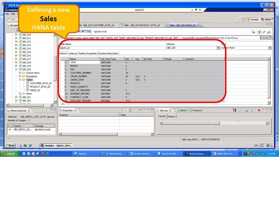 Defining a new Sales HANA table