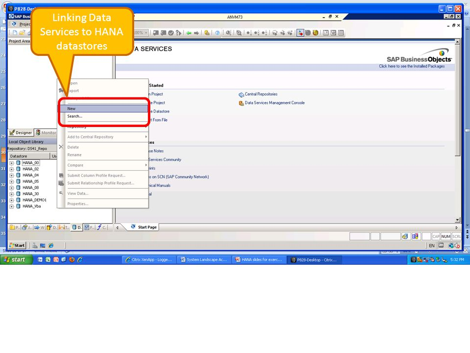 Linking Data Services to HANA datastores