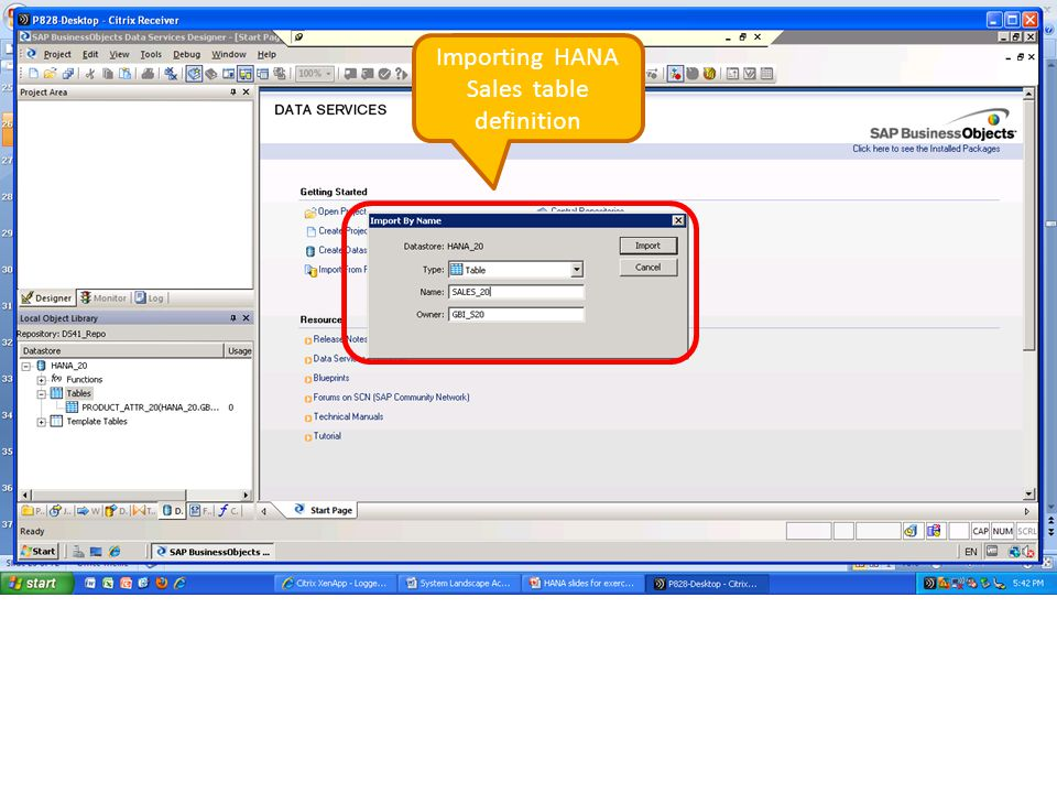 Importing HANA Sales table definition