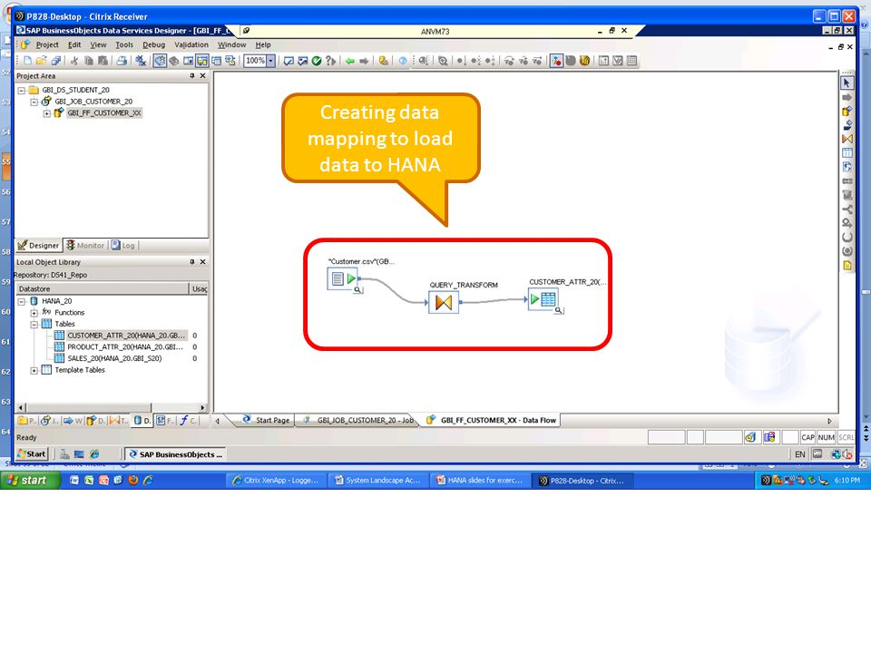 Creating data mapping to load data to HANA