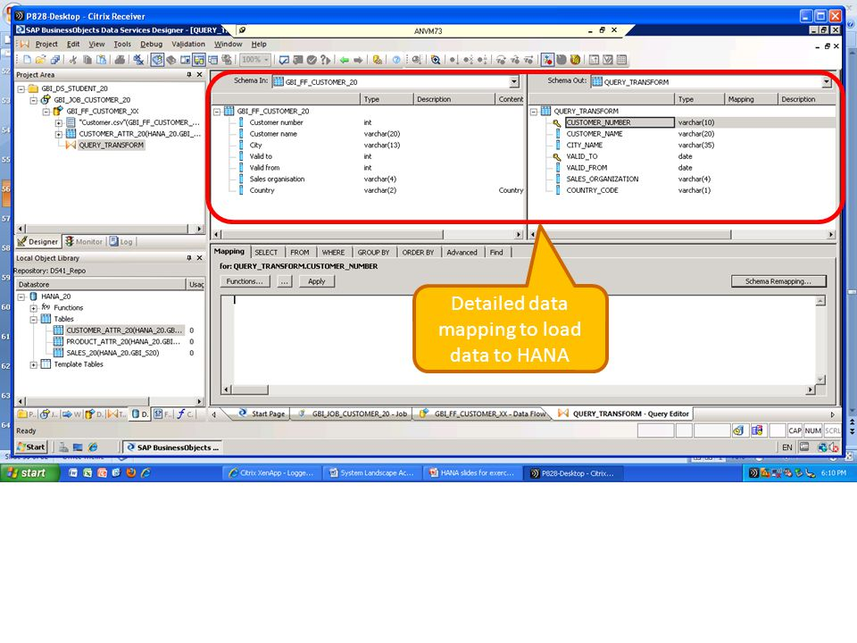 Detailed data mapping to load data to HANA