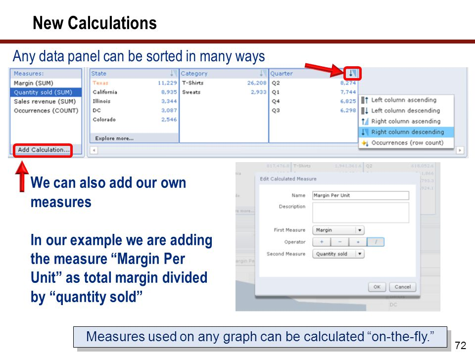 Measures used on any graph can be calculated on-the-fly.