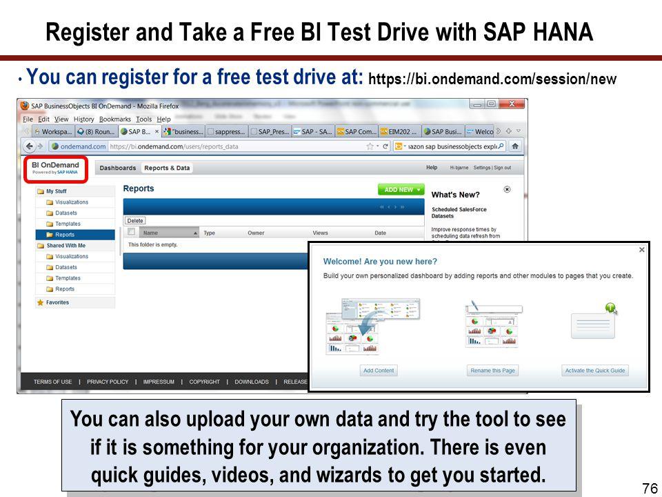 Register and Take a Free BI Test Drive with SAP HANA