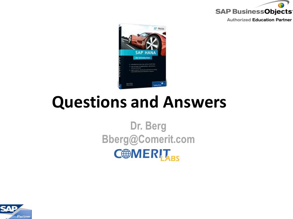 Questions and Answers Dr. Berg Bberg@Comerit.com