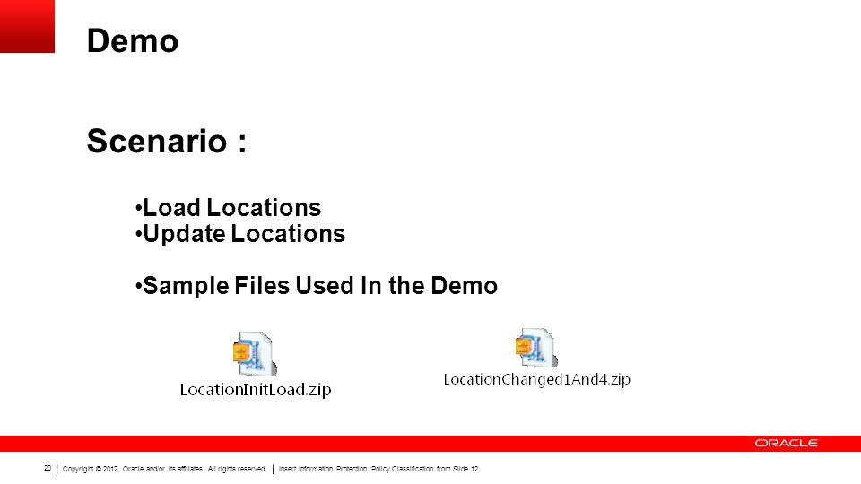 Demo Scenario : Load Locations Update Locations