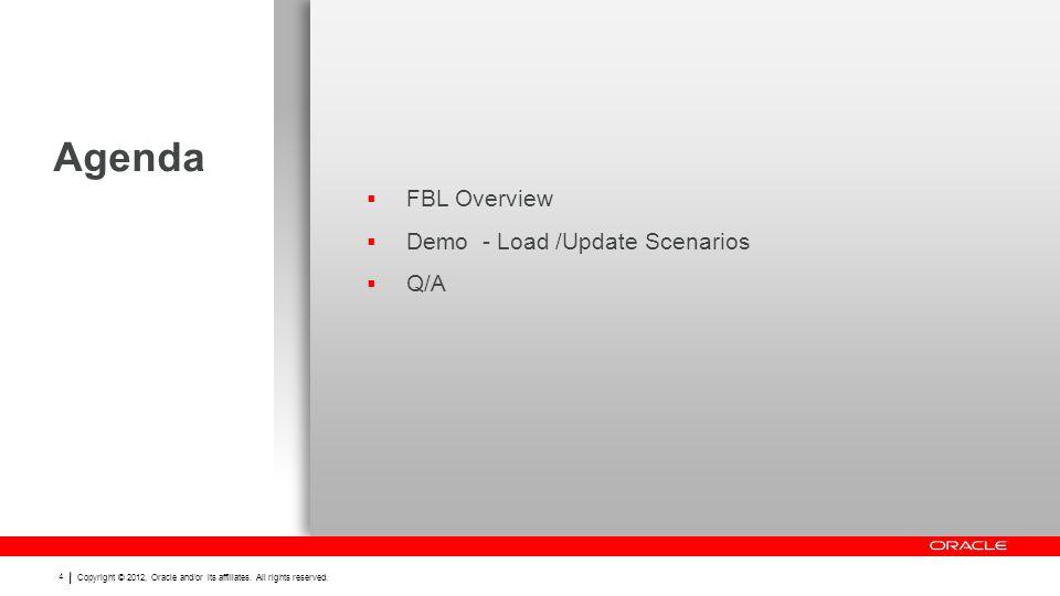 Agenda FBL Overview Demo - Load /Update Scenarios Q/A