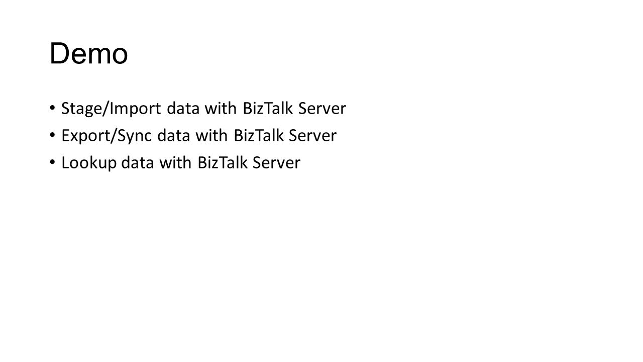 Demo Stage/Import data with BizTalk Server