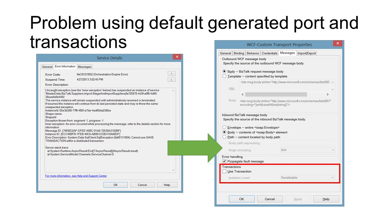 Problem using default generated port and transactions