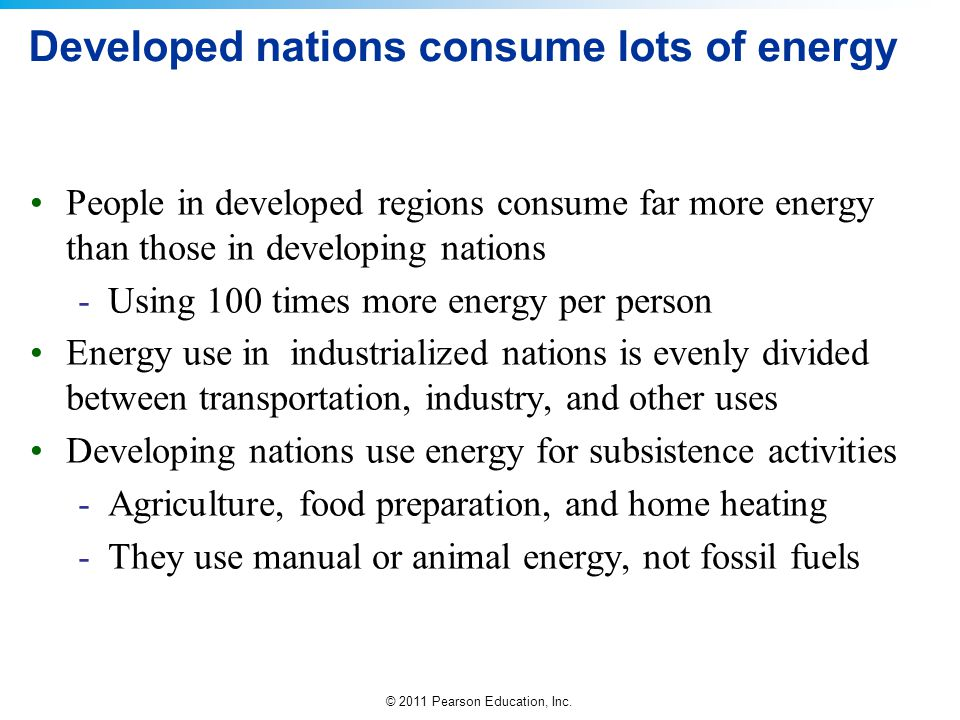 Developed nations consume lots of energy