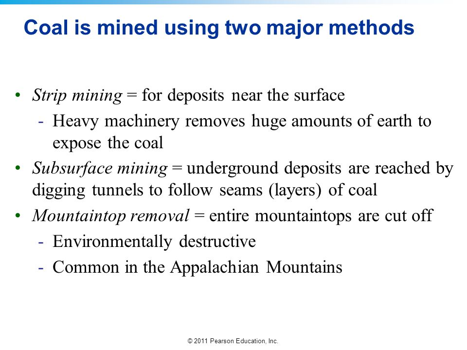 Coal is mined using two major methods