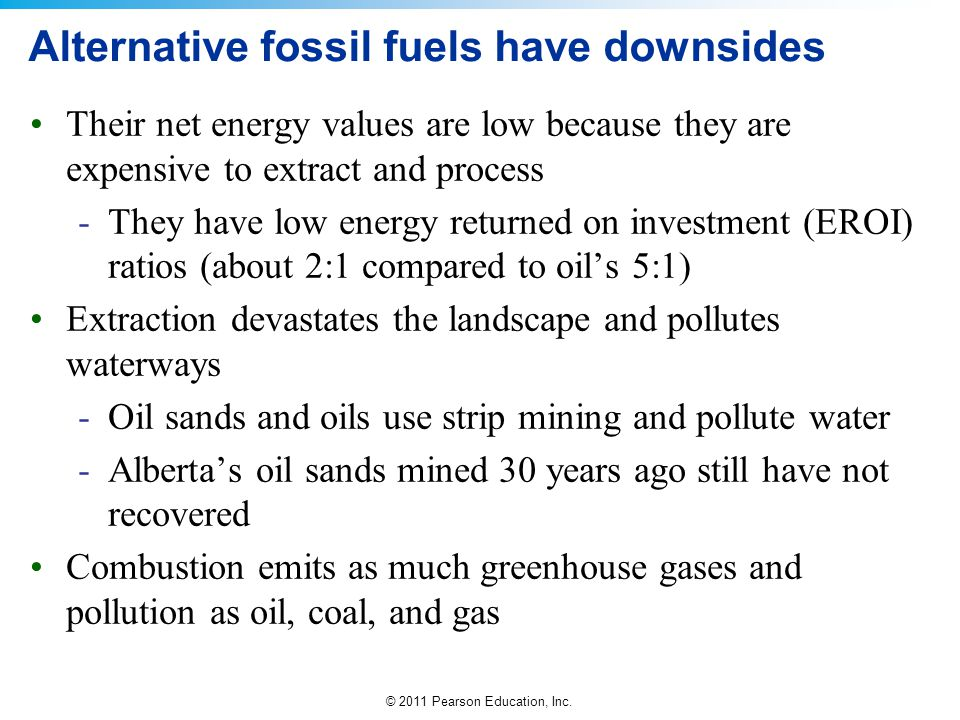 Alternative fossil fuels have downsides