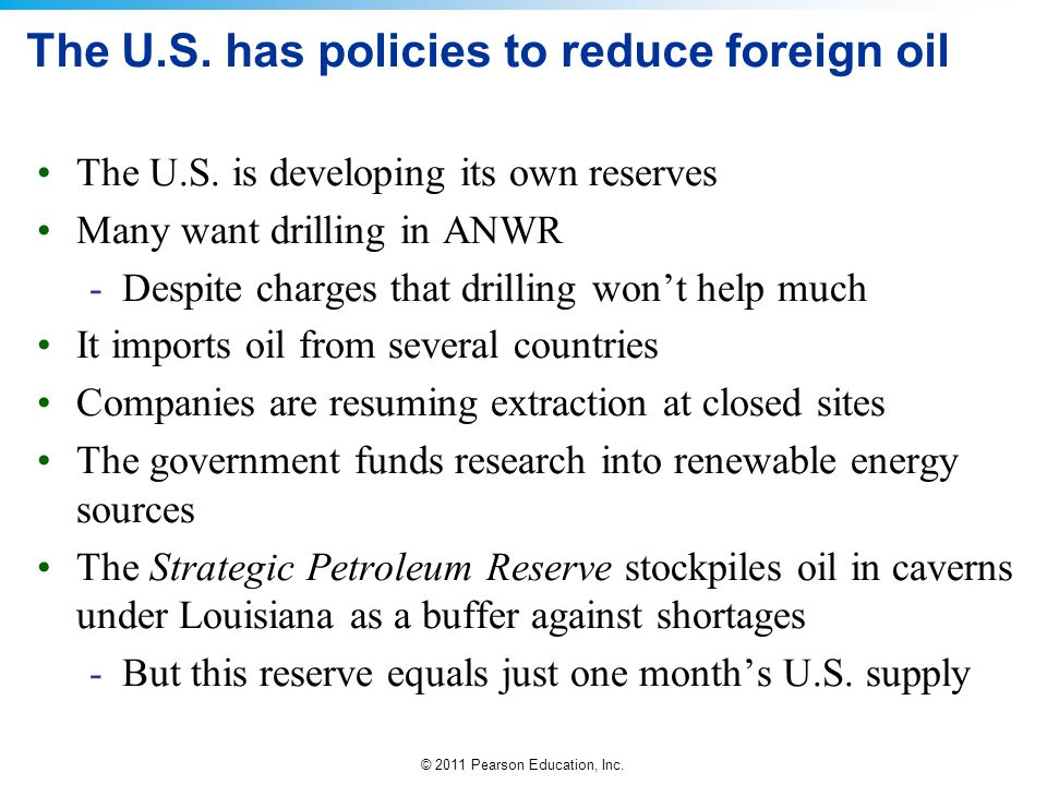 The U.S. has policies to reduce foreign oil