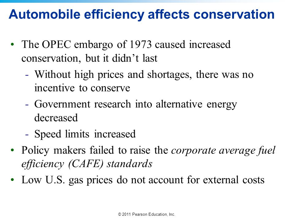 Automobile efficiency affects conservation