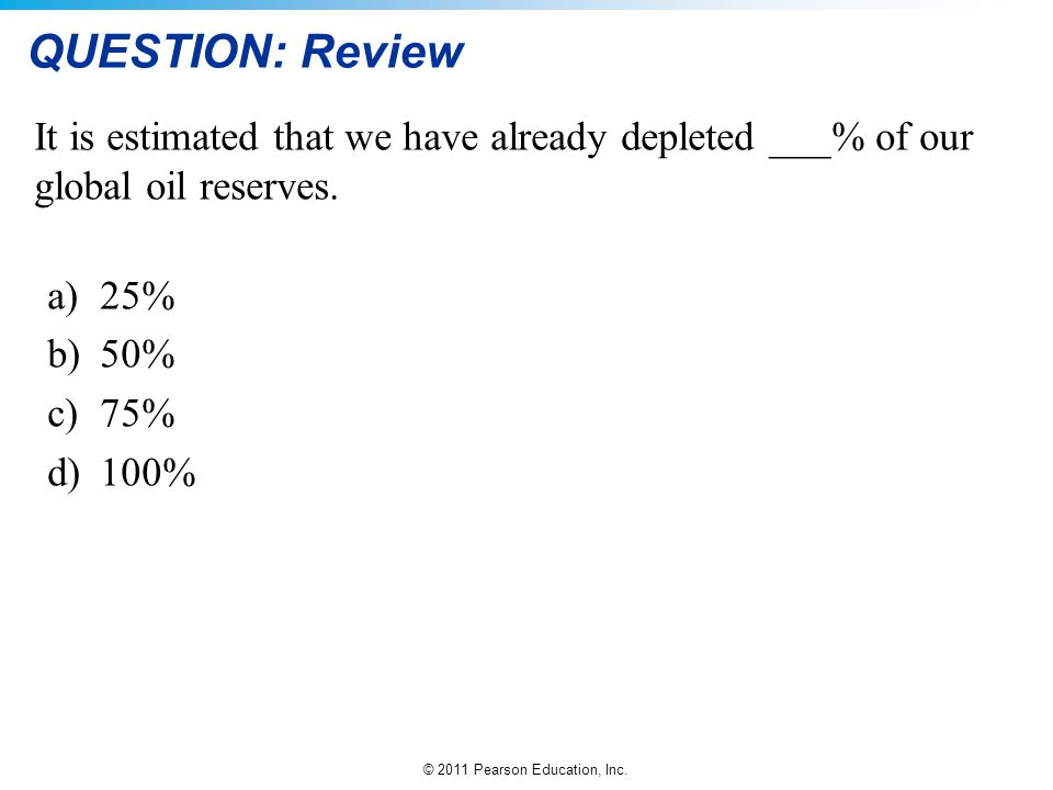 QUESTION: Review It is estimated that we have already depleted ___% of our global oil reserves. 25%