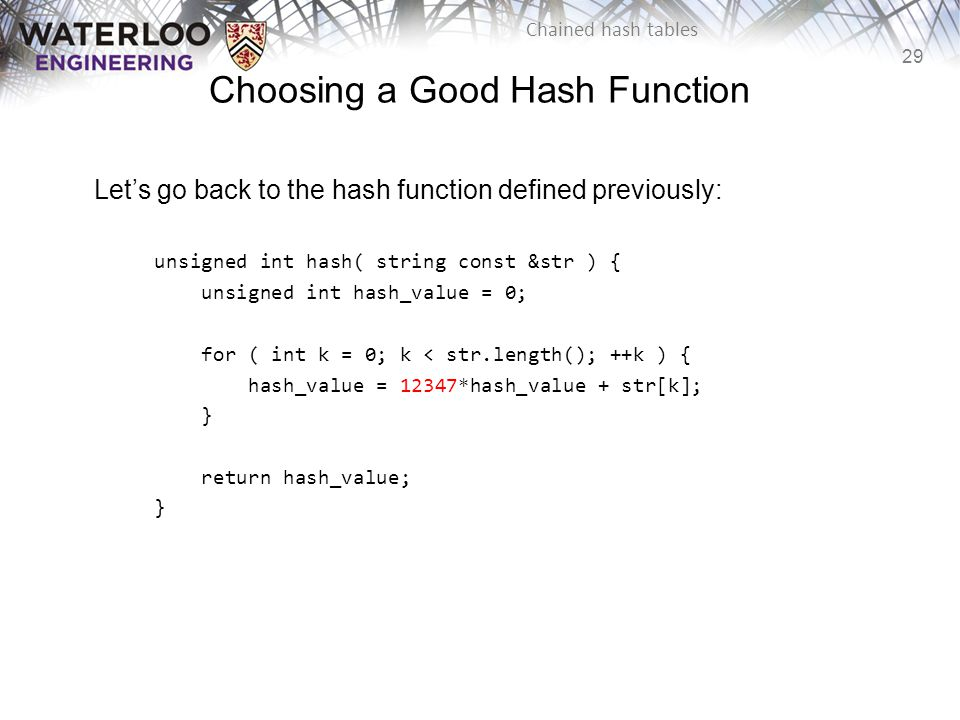 Choosing a Good Hash Function