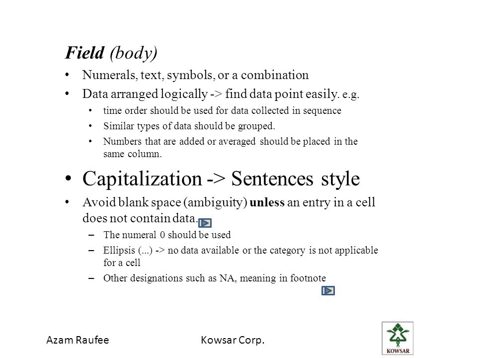 Capitalization -> Sentences style