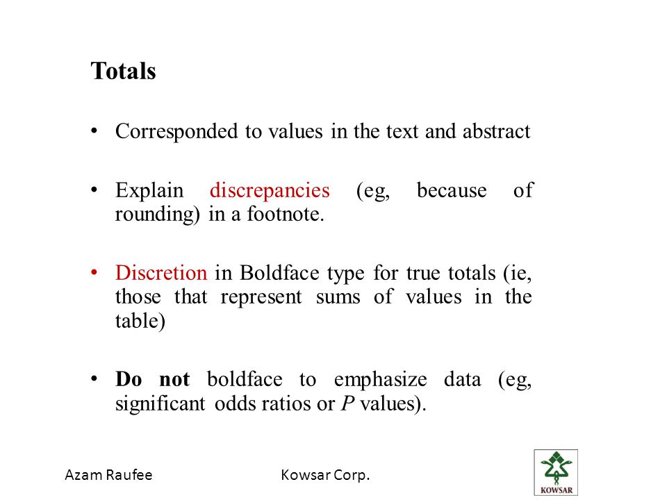 Totals Corresponded to values in the text and abstract