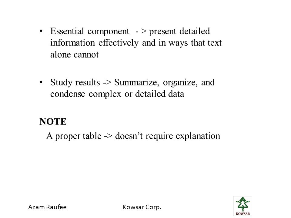 Essential component - > present detailed information effectively and in ways that text alone cannot