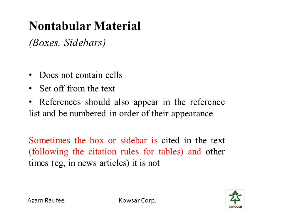 Nontabular Material (Boxes, Sidebars) Does not contain cells