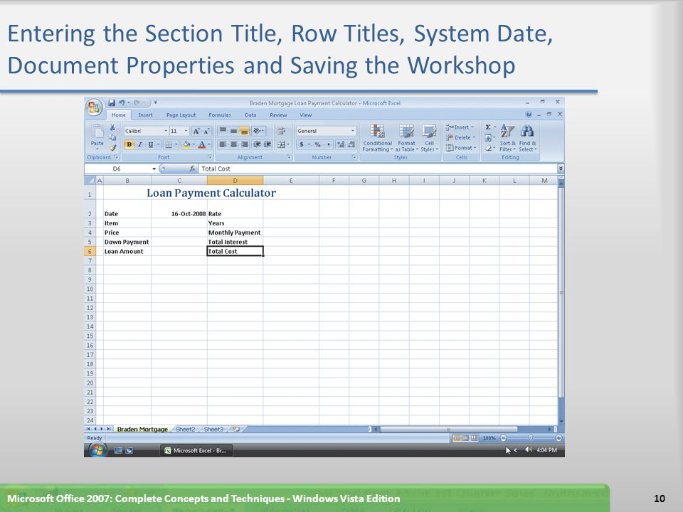 Entering the Section Title, Row Titles, System Date, Document Properties and Saving the Workshop