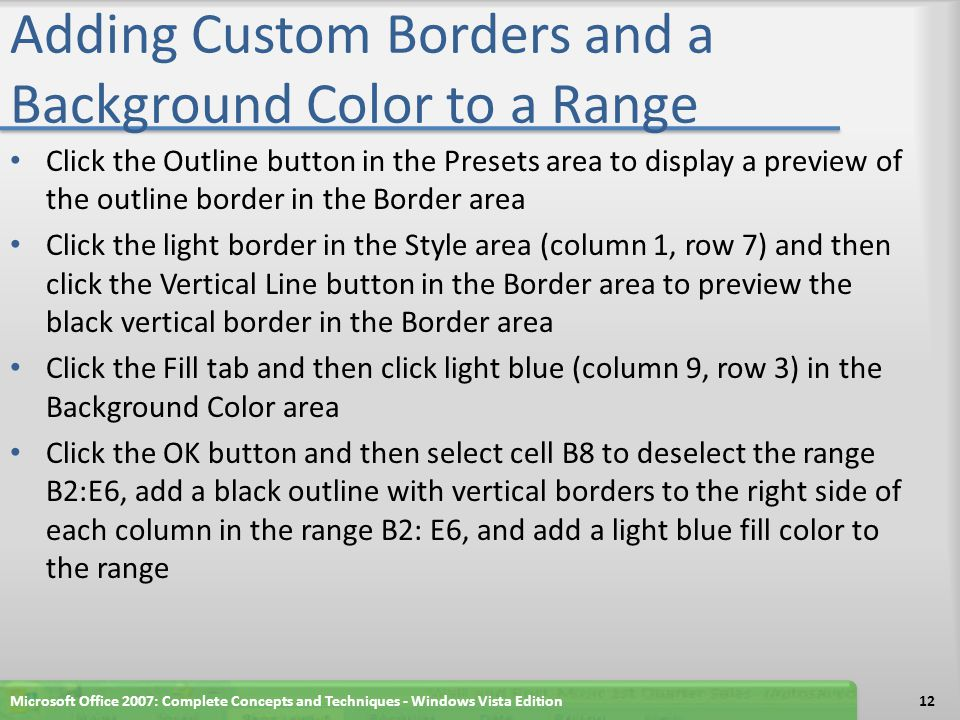 Adding Custom Borders and a Background Color to a Range