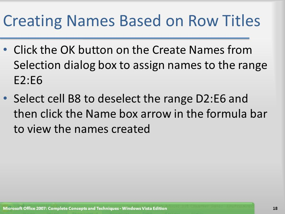 Creating Names Based on Row Titles