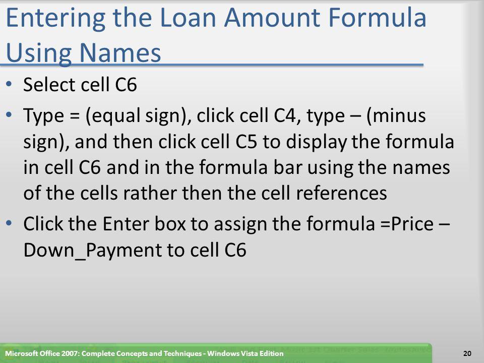 Entering the Loan Amount Formula Using Names