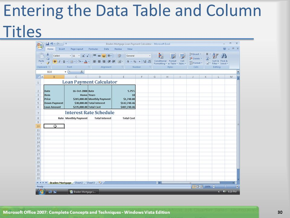 Entering the Data Table and Column Titles