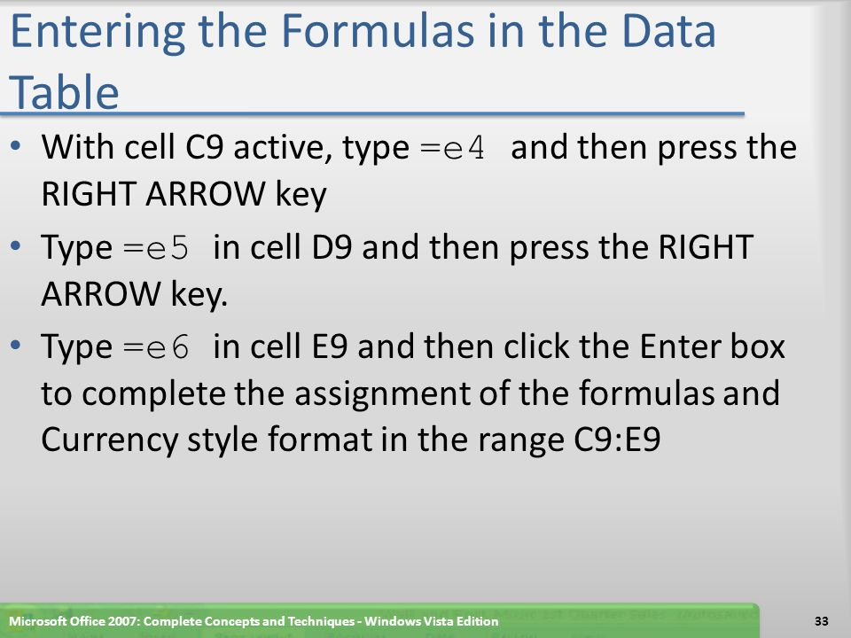 Entering the Formulas in the Data Table
