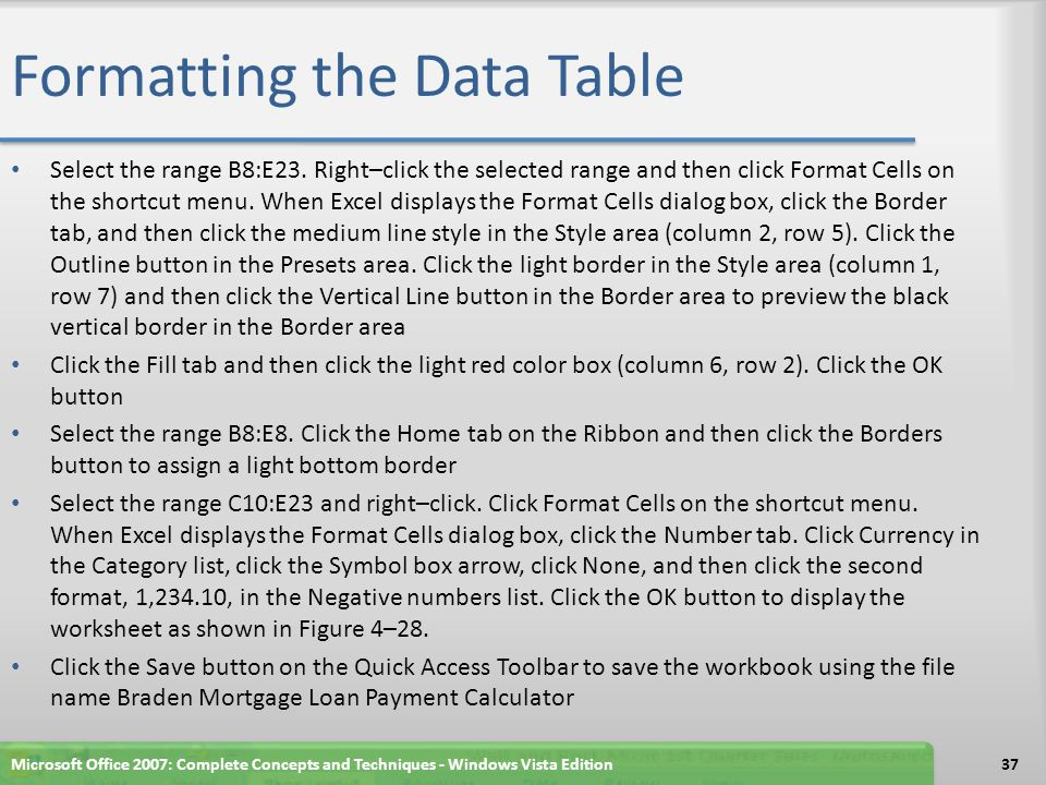 Formatting the Data Table