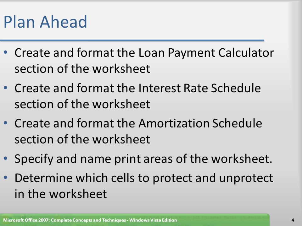 Plan Ahead Create and format the Loan Payment Calculator section of the worksheet.