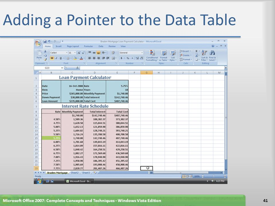 Adding a Pointer to the Data Table
