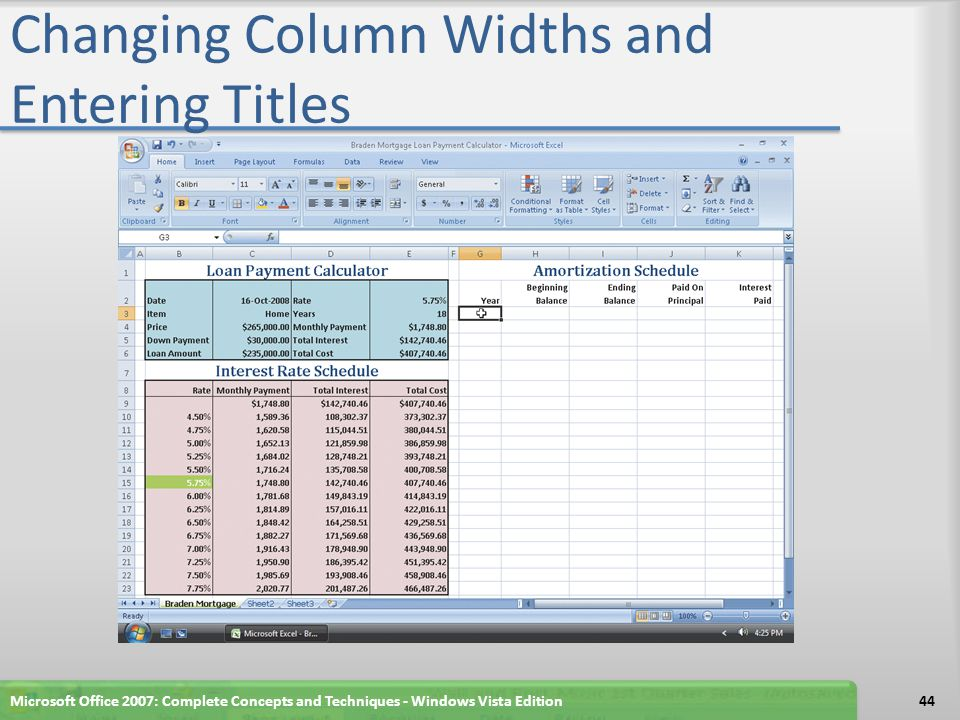 Changing Column Widths and Entering Titles
