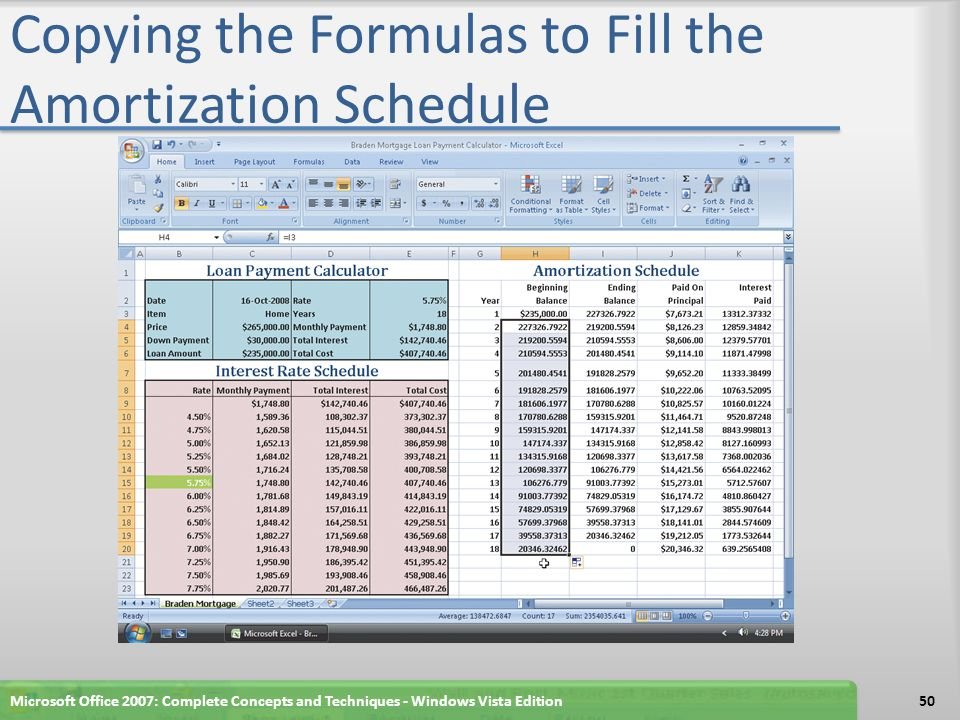 Copying the Formulas to Fill the Amortization Schedule