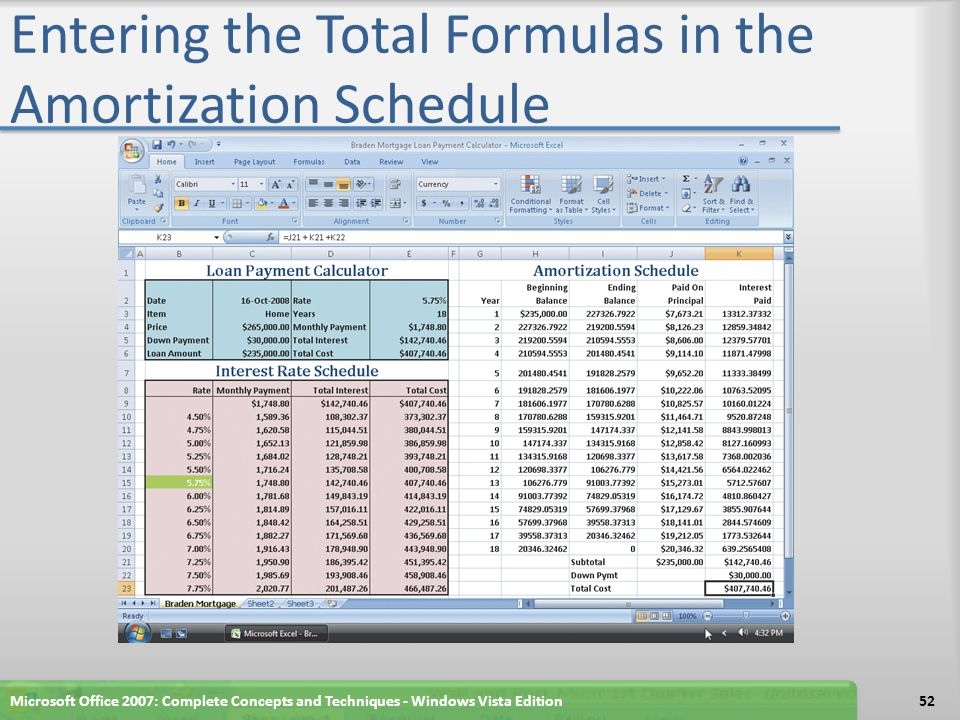 Entering the Total Formulas in the Amortization Schedule