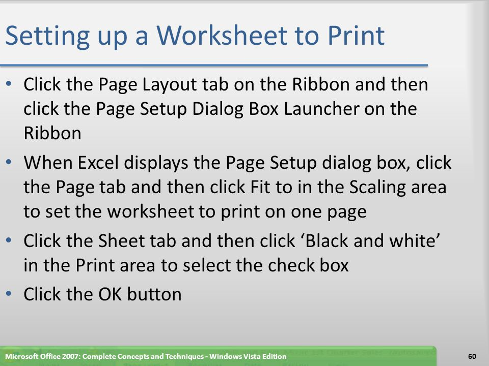 Setting up a Worksheet to Print