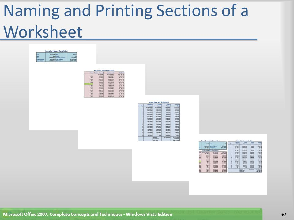 Naming and Printing Sections of a Worksheet
