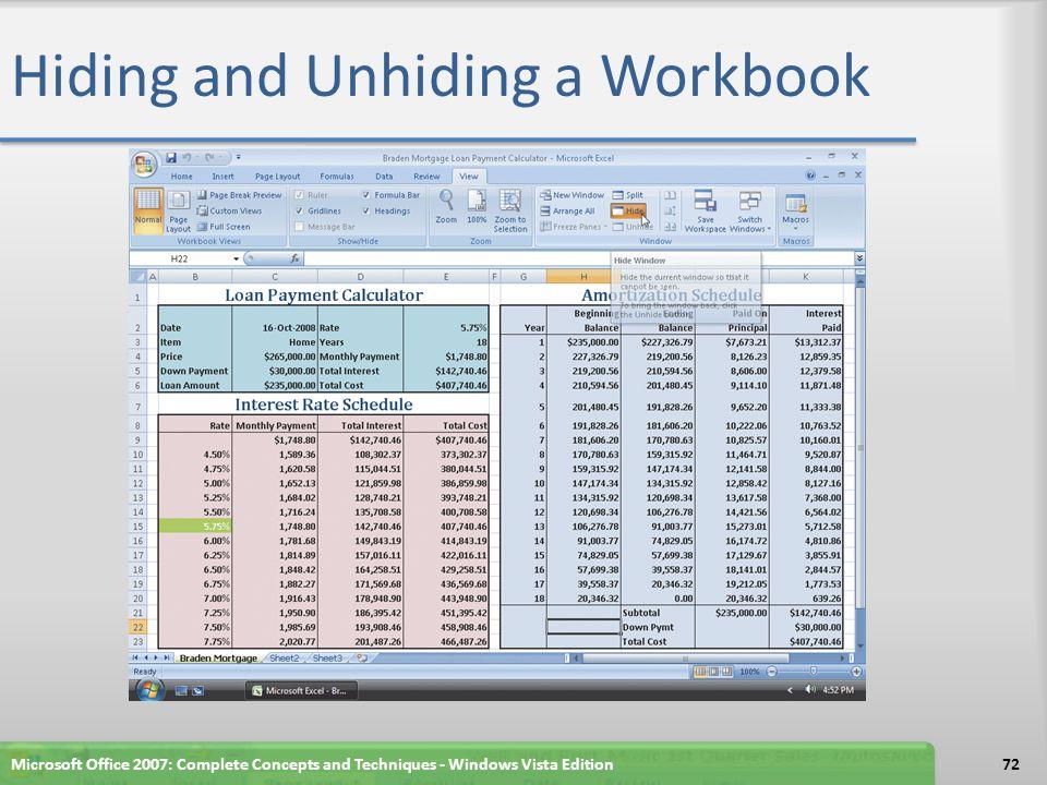 Hiding and Unhiding a Workbook