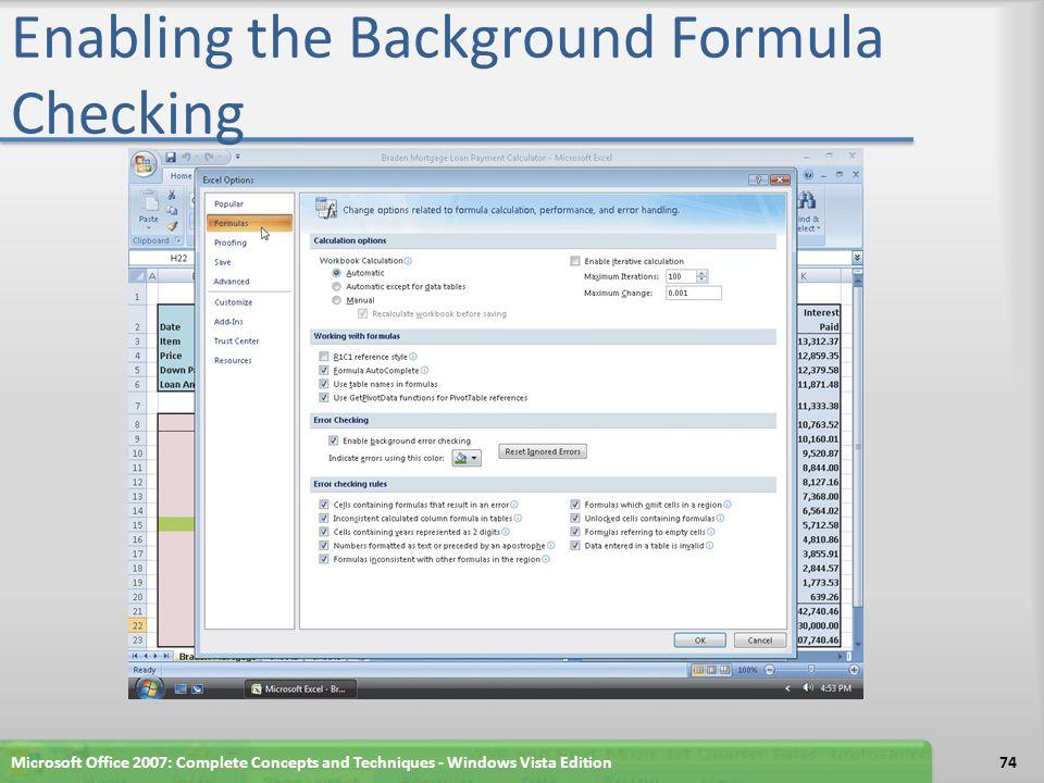 Enabling the Background Formula Checking