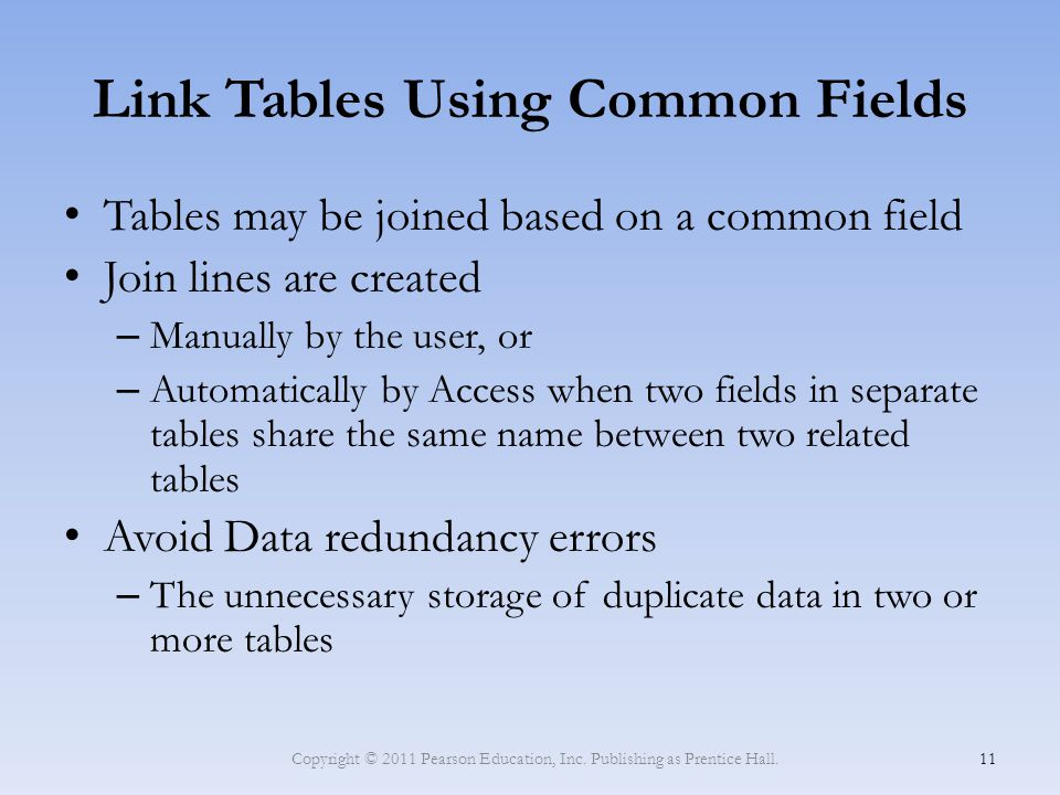 Link Tables Using Common Fields